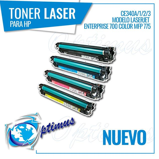 Foto de Toner Optimus remanufacturado para  Hp Laserjet  Enterprise CE340A/1/2/3